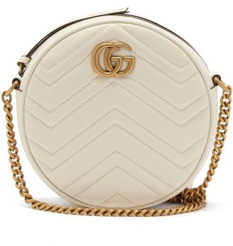 Gucci GG Marmont Circular Leather Cross-body Bag - White