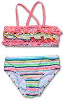 Hula Star Coral & Blue Sweet Treat Stripe Bikini - Toddler & Girls