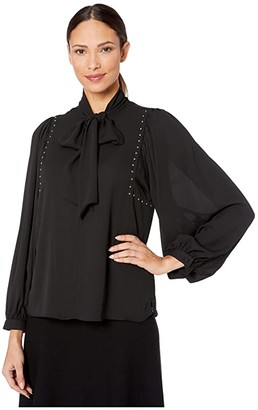 Vince Camuto Long Sleeve Puff Shoulder Embellished Tie Neck Blouse (Rich Black) Women's Blouse