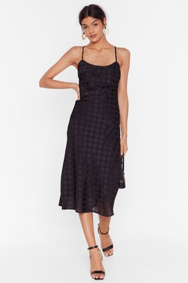 Nasty Gal Womens Dot to Dance Jacquard Midi Dress - Black