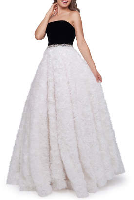 Mac Duggal Strapless Ball Gown with Velvet Bodice & Textured Ribbon Skirt