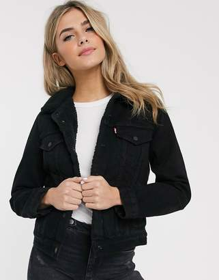 Levi's sherpa denim trucker jacket-Black