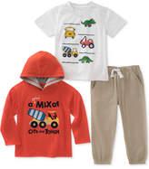 Kids Headquarters 3-Pc. Construction Hoodie, Dino-Print T-Shirt and Pants Set, Baby Boys