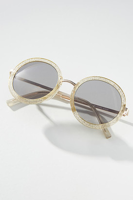 Anthropologie Glitter Round Sunglasses By in Silver Size ALL