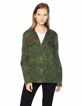 Pam & Gela Women's CAMO Jacket with Contrast Cuffs