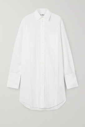 Balenciaga Pleated Poplin Shirt Dress - White