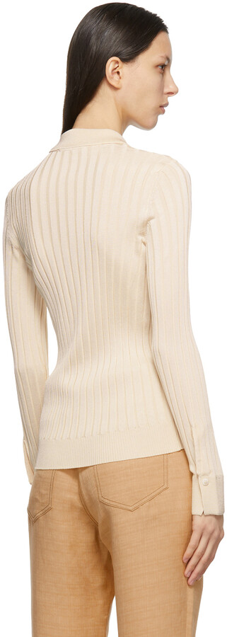 Thumbnail for your product : PARTOW Beige Hendrix Long Sleeve Polo