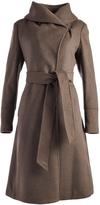 Cole Haan Light Brown Tie-Waist Wool-Blend Trench Coat