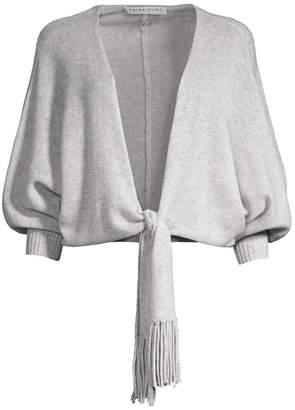 Trina Turk Jet Set Jungle Zael Knit Puff-Sleeve Tie-Front Cashmere Cardigan