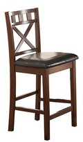 Acme Weldon Counter Height Dining Chair (Set of 2) - Cherry and Black