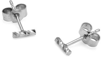 Myia Bonner Silver Mini Diamond Bar Stud Earrings