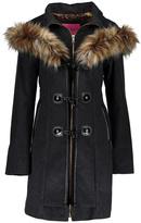 Betsey Johnson Dark Charcoal Faux Fur Toggle Wool-Blend Coat