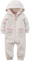 Carter's Baby Girl Hooded Polka-Dot Fleece-Lined Coverall