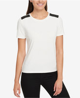 Tommy Hilfiger Faux-Leather-Trim T-Shirt, Created for Macy's