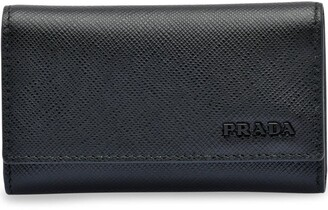 Prada Saffiano leather keychain with hooks