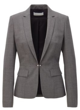 HUGO BOSS Regular Fit Jacket With Cufflink Closure And Silky Lining - Grey
