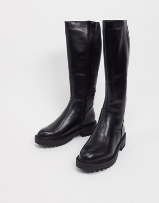 New Look knee high chunky biker boot in black