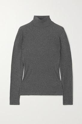 Ninety Percent Net Sustain Kaye Ribbed Organic Cotton-jersey Turtleneck Top - Gray