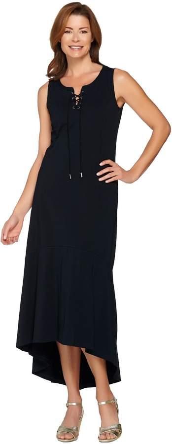 Isaac Mizrahi Live! Regular Lace-Up Neck Hi-low Hem Maxi Dress