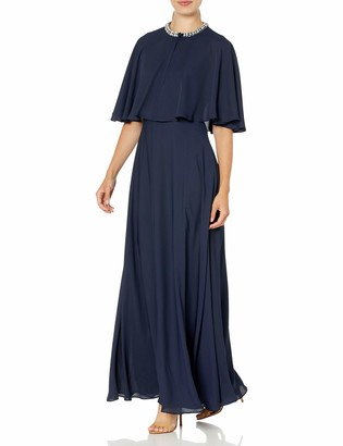 Calvin Klein Women's Sleeveless Gown with Attached Caplet