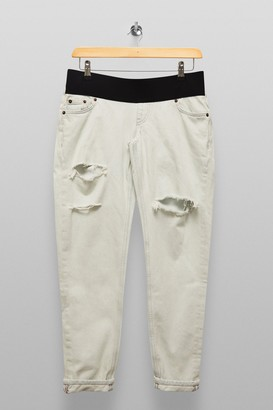 Topshop Womens **Maternity Bleach Under The Bump Mom Tapered Jeans - Bleach Stone