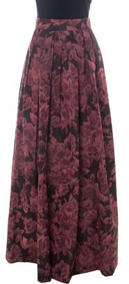 Max Mara Burgundy Printed Silk Maxi Skirt M