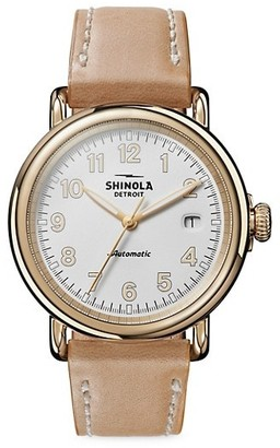 Shinola Runwell Automatic Stainless Steel Leather Strap Watch