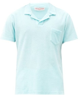 Orlebar Brown Patch-pocket Cotton-terry Polo Shirt - Light Blue