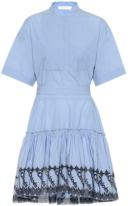 Chloé Embroidered cotton poplin dress