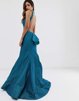 Jovani fishtail backless maxi dress with ruffle detail-Multi