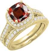 DazzlingRock Collection 14K Yellow Gold 7.5 MM Cushion Aquamarine & Round Diamond Bridal Halo Engagement Ring Set (Size 9.5)