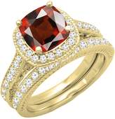 DazzlingRock Collection 14K Yellow Gold 7.5 MM Cushion Garnet & Round Diamond Bridal Halo Engagement Ring Set (Size 7)