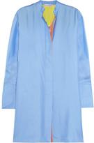Jonathan Saunders Motley Oversized Silk-twill Tunic - Sky blue