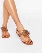 Carvela Brass Tassel Leather Toepost Flat Sandals
