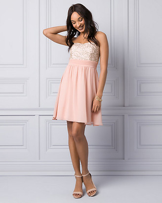 Le Château Embroidered Mesh & Chiffon Party Dress