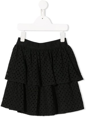 Karl Lagerfeld Paris Embroidered Ruffle Mini Skirt