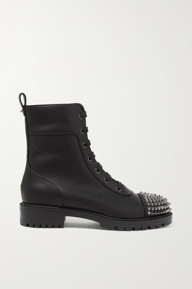 Christian Louboutin Spiked Leather Ankle Boots - Black