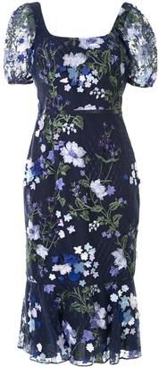 Marchesa Notte Embroidered Lace Midi Dress