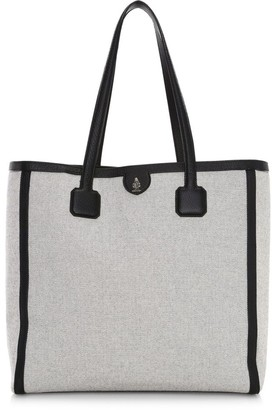 Mark Cross Antibes Leather-Trimmed Birdseye Tote