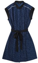 for Target® Sleeveless Pleated Shift Dress in Navy Dots with Black Belt