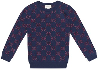 Gucci Kids GG metallic cotton-blend sweater