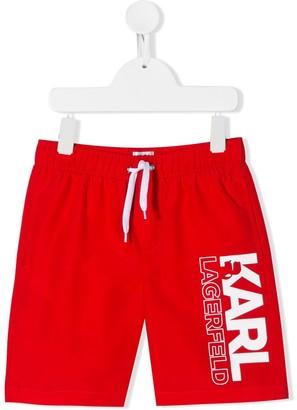 Karl Lagerfeld Paris Printed Logo Swim Shorts