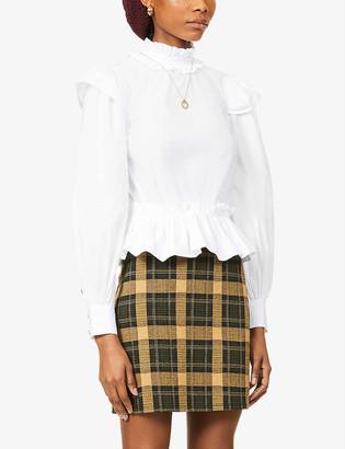 Ganni Flared-hem cotton-poplin shirt
