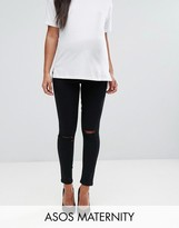 Asos RIDLEY Skinny Jean In Clean Black With Ripped Knees With Over The Bump Waistband