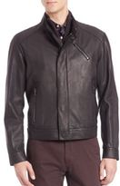 Saks Fifth Avenue Collection Calf & Lamb Leather Zip Front Jacket