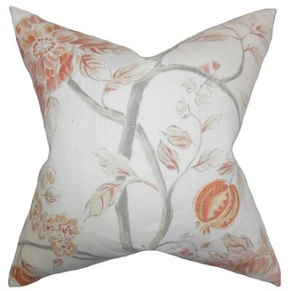 "The Pillow Collection Ivria Floral Linen Throw Pillow Color: Bloom, Size: 18"" x 18"""