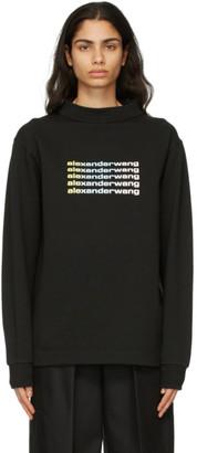 Alexander Wang Black Wide Neck Puff Logo Long Sleeve T-Shirt