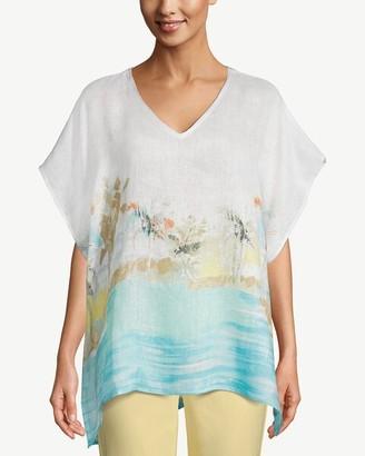 Chico's Island-Print Linen Poncho