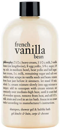 philosophy french vanilla bean shampoo, shower gel and bubble bath gift with purchase