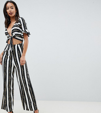 Asos Tall DESIGN tall tea jumpsuit with cut out and tie detail in chain print-Multi